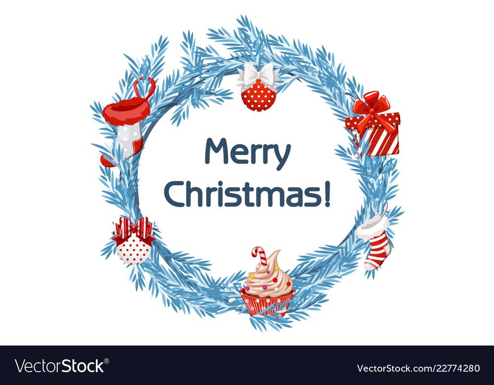 Cartoon blue wreath spruce with christmas