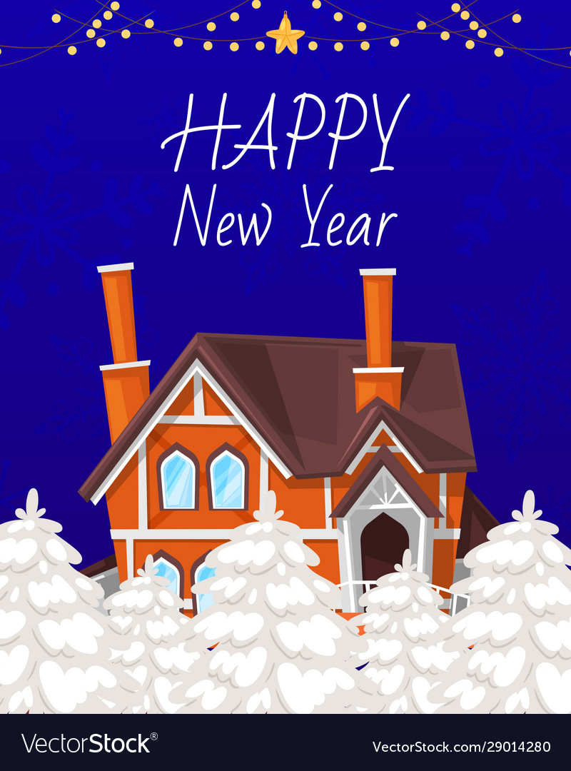 Christmas greeting card with a small cottage house