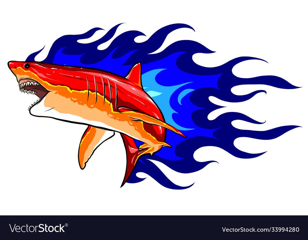 Emblem sharks and fire design