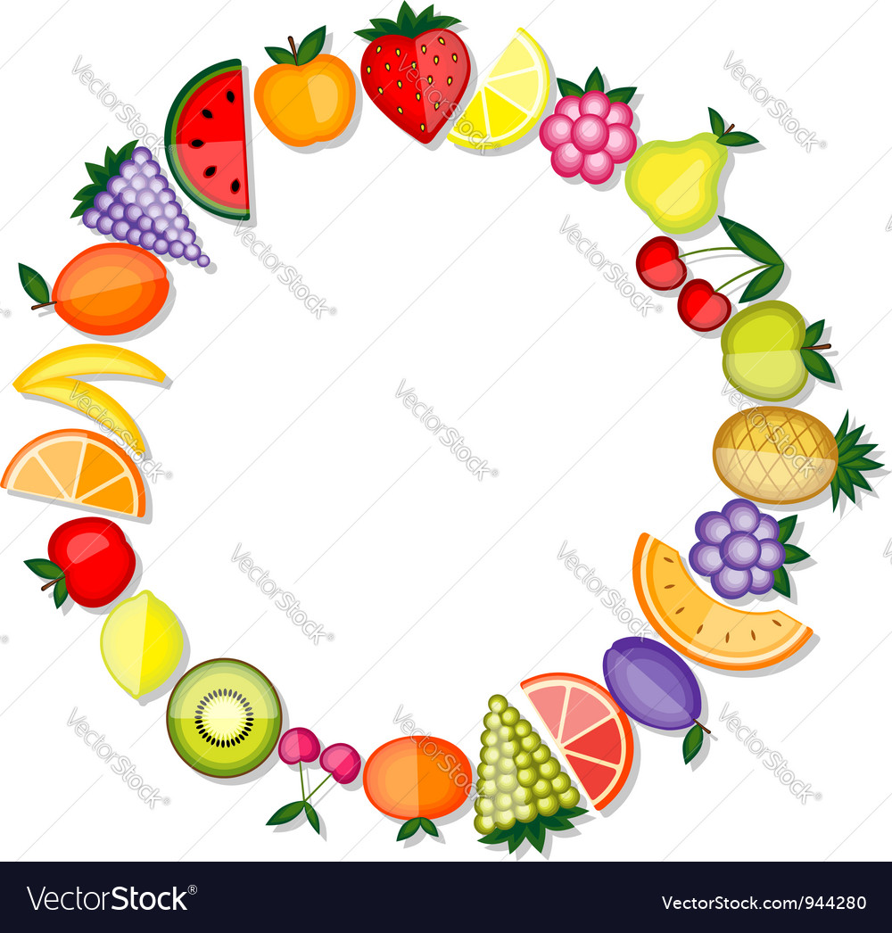 Energy fruits frame for your design Royalty Free Vector