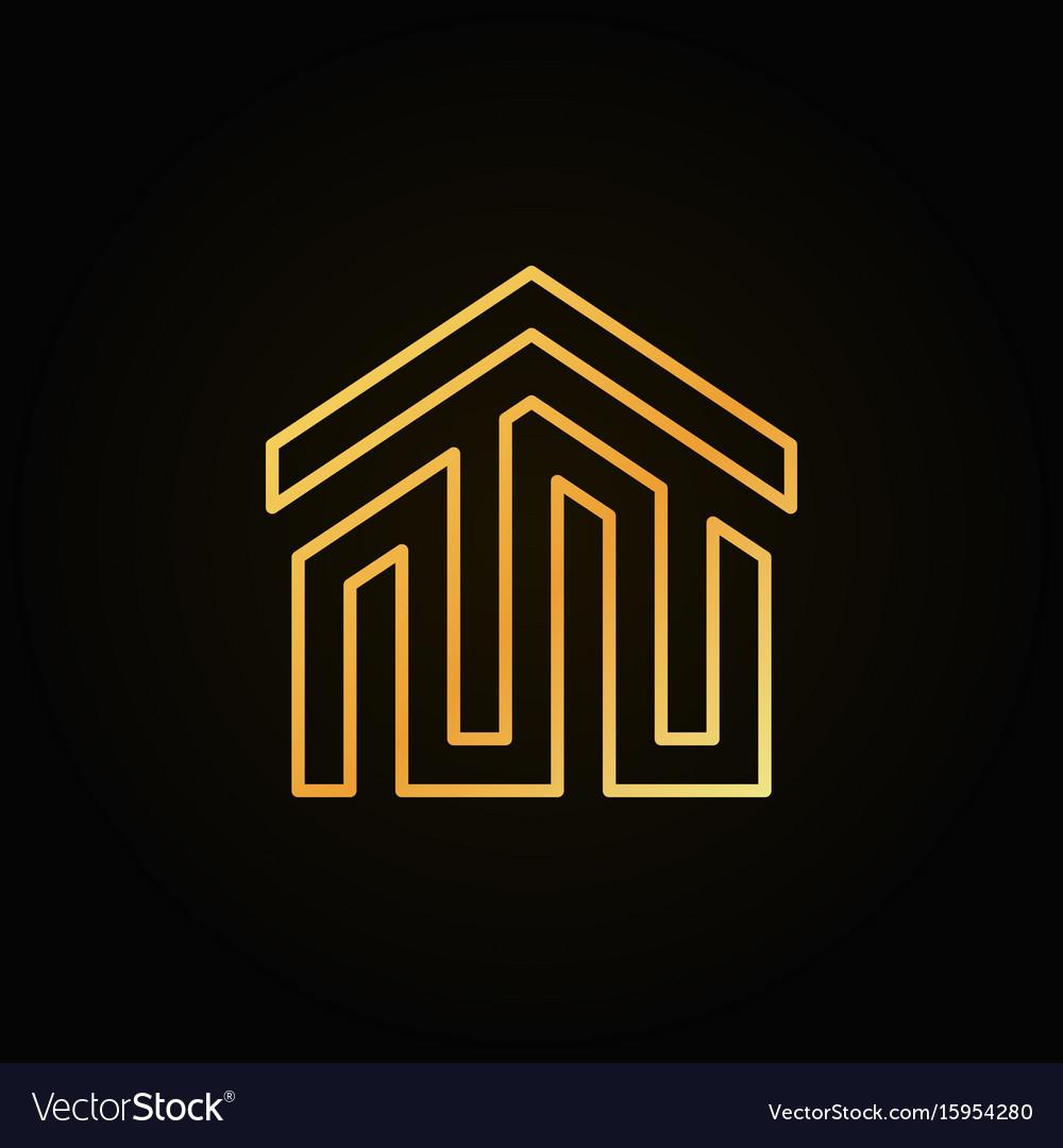 Golden house building icon or logo vector image