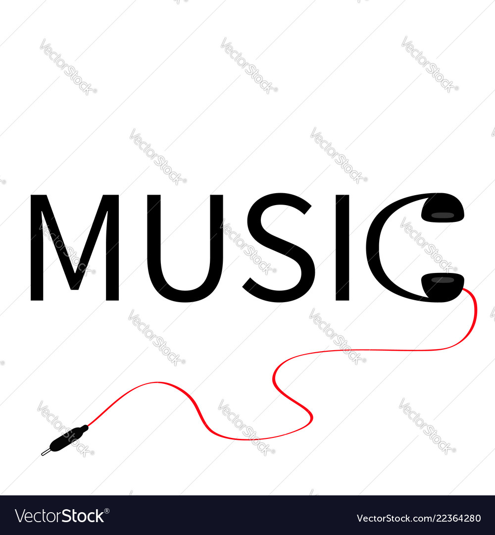 Headphones earphones icon word music red cord