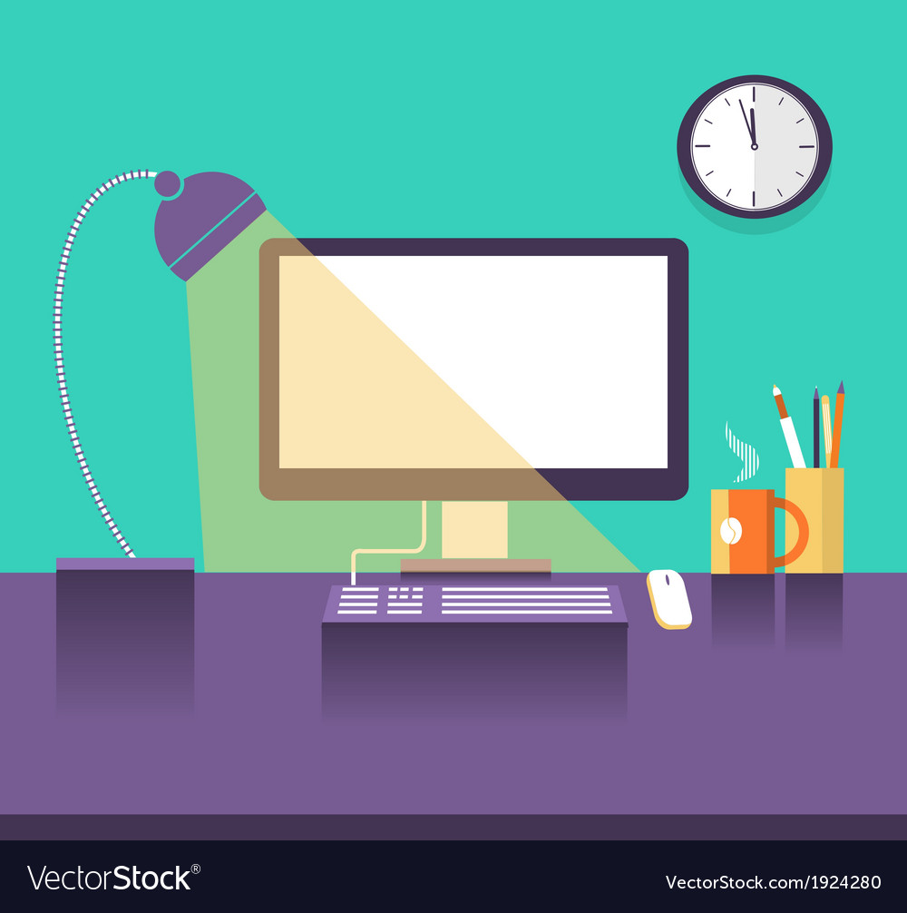 Interior office place in night time vector image