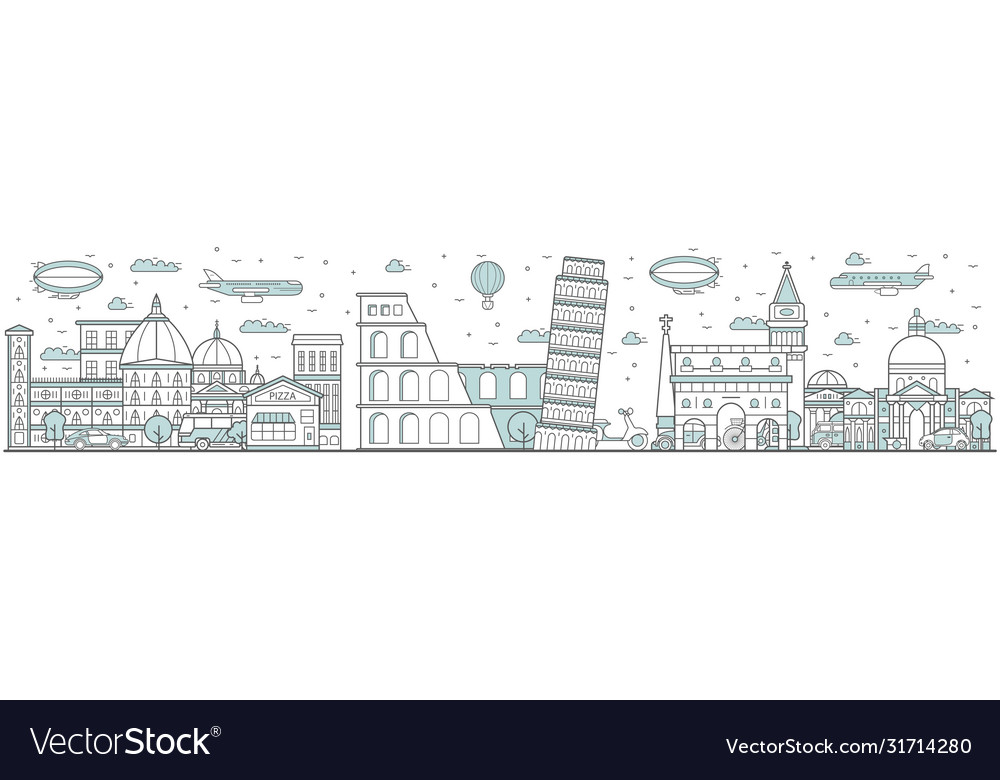 Italy skyline line cityscape