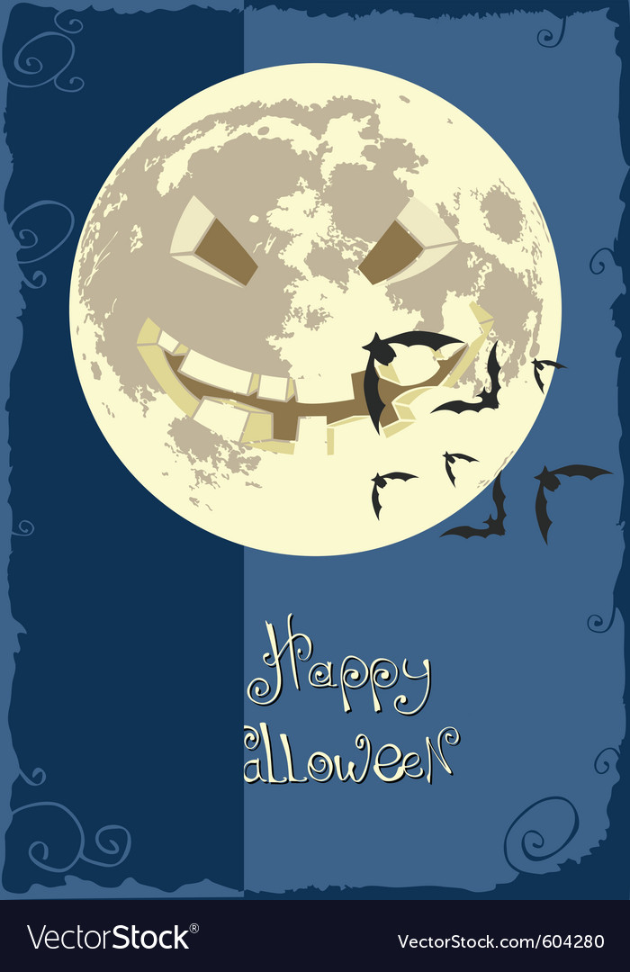 Scary smiling moon vector image
