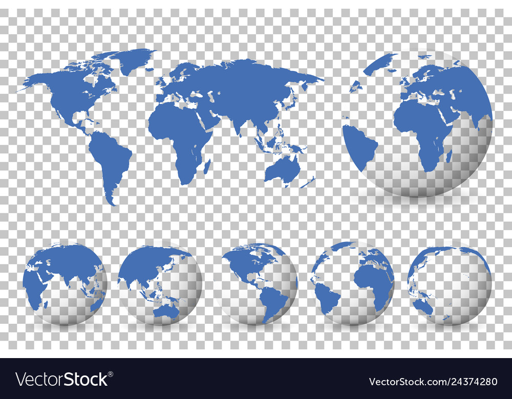 Set of globes with different continents and a map