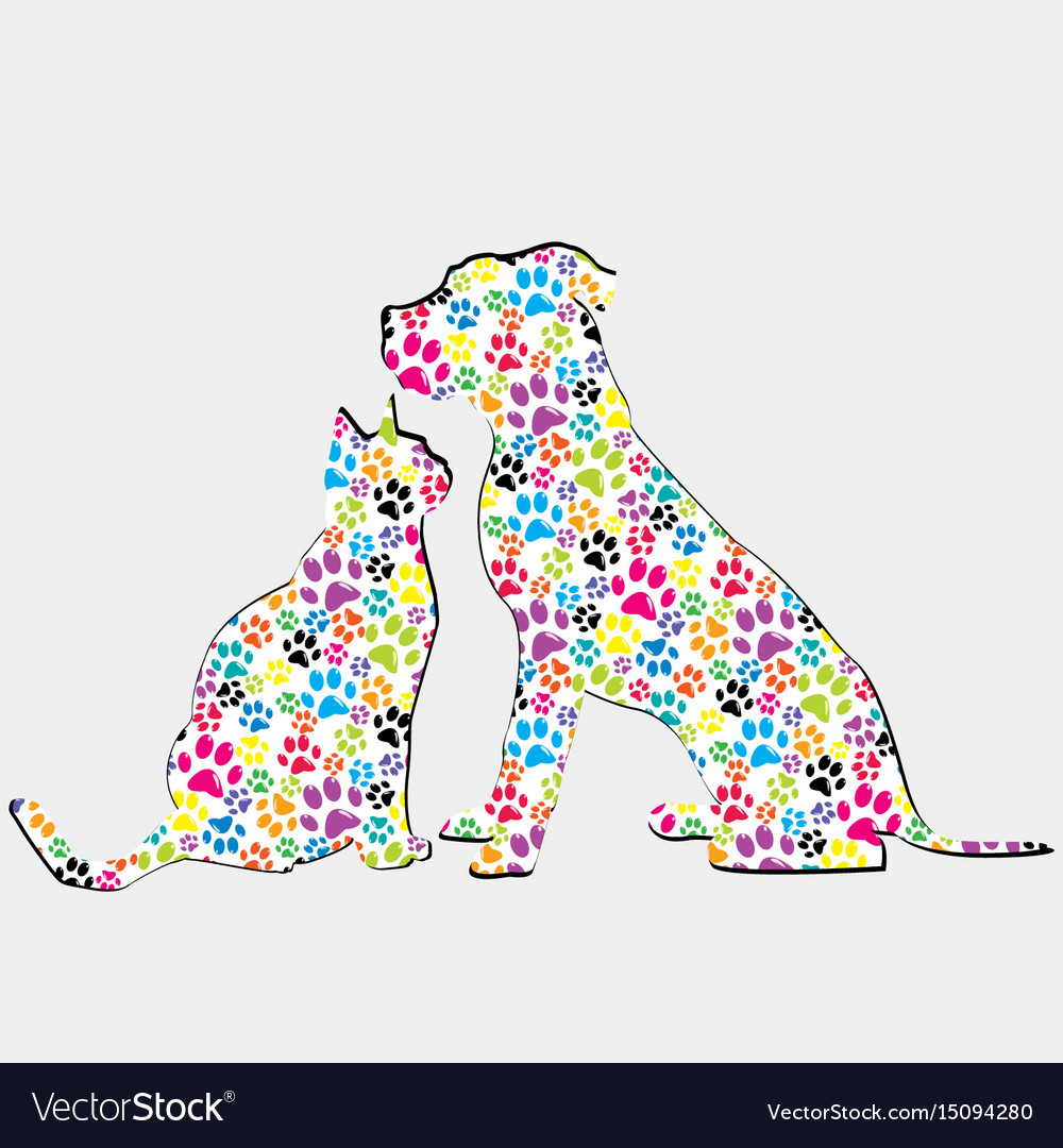 Silhouettes of cat and dog patterned in colored