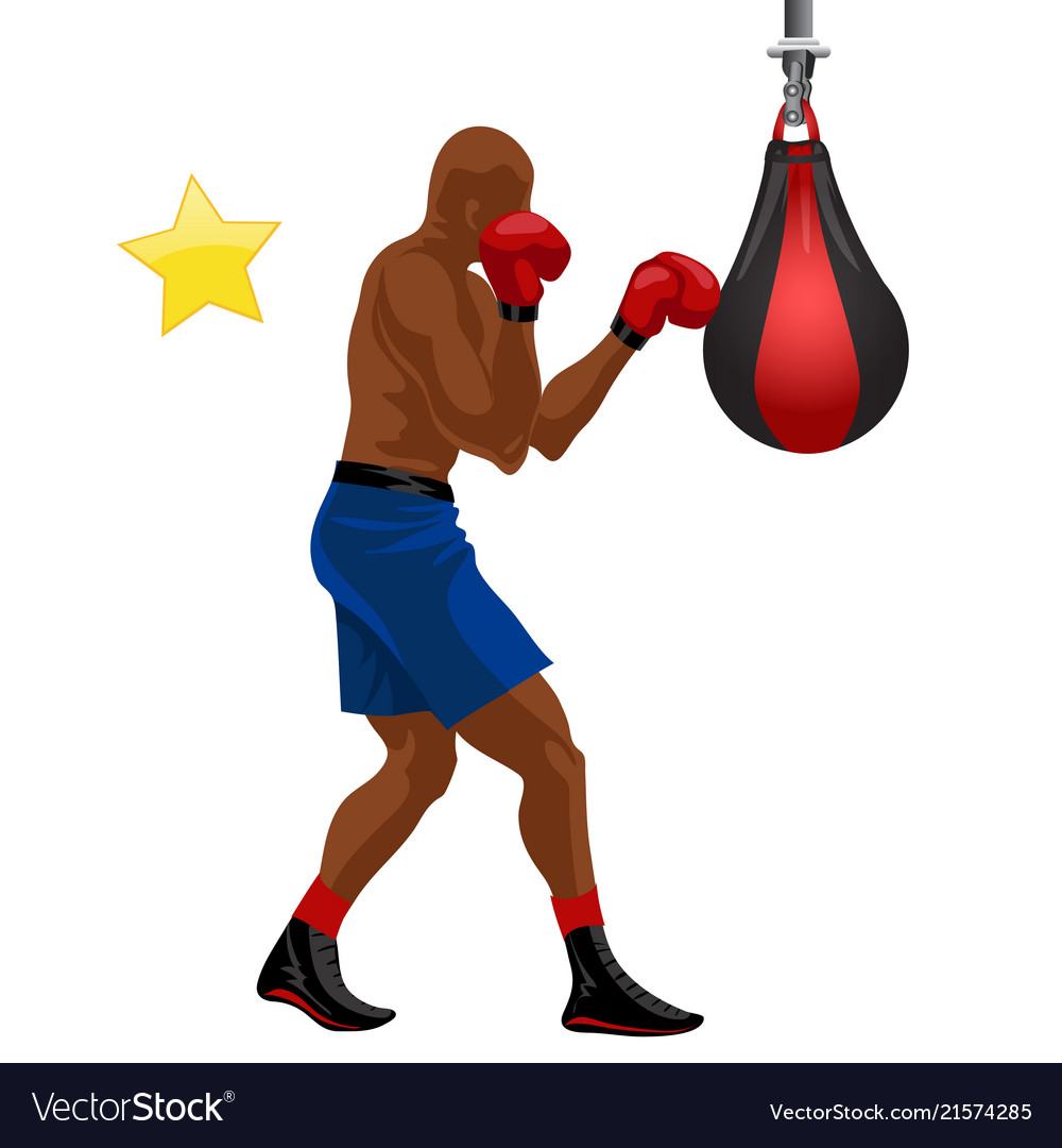 Afro-american boxer boxing punchball in blue