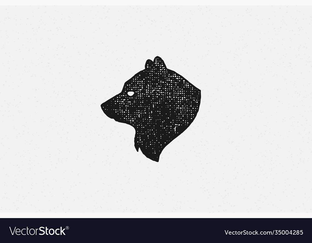 Black silhouette head wild bear as countryside