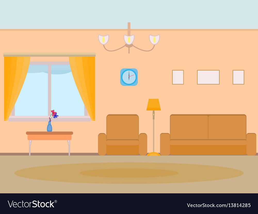 Room Background: Cartoon Background Living Room Royalty Free Vector Image
