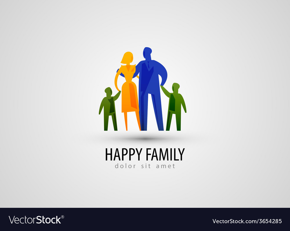Family logo design template parents or people icon