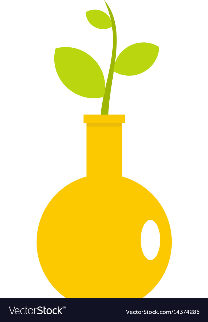 Green Plant In A Yellow Vase Icon Isolated Vector Image