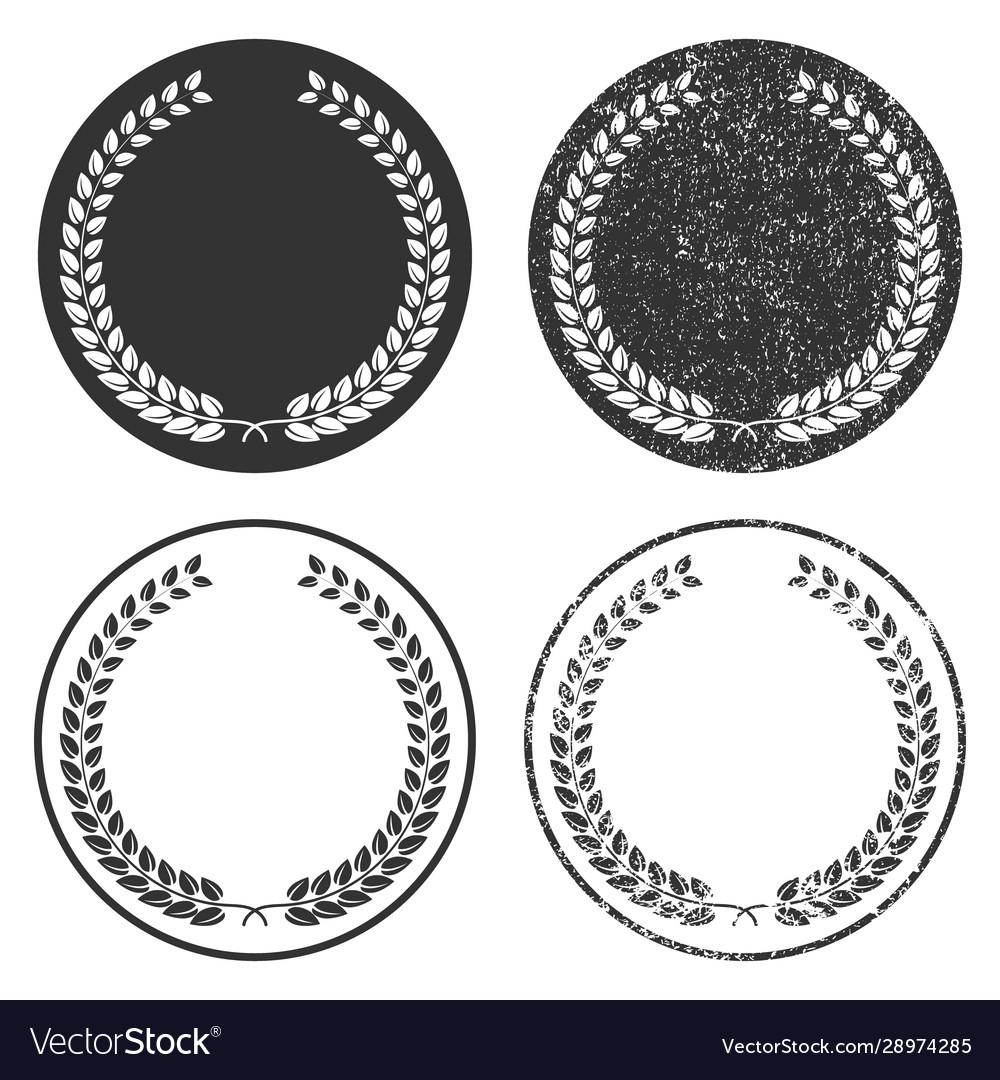 Grunge stamp style laurel wreath icon shape