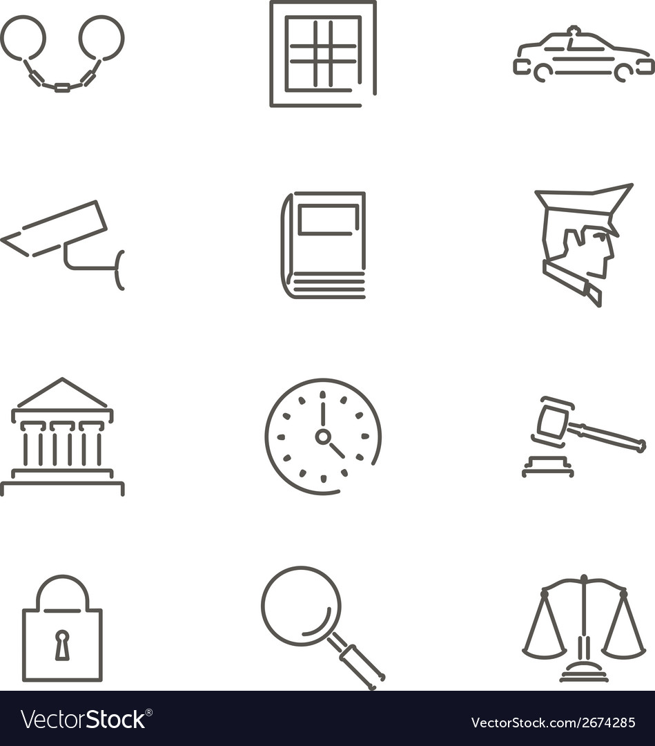 Modern Line Law Legal Justice Icons and Symbols