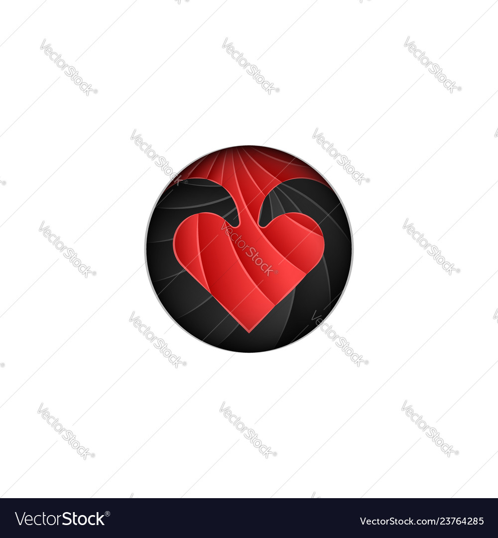 Round logo for valentines day scaly red heart on
