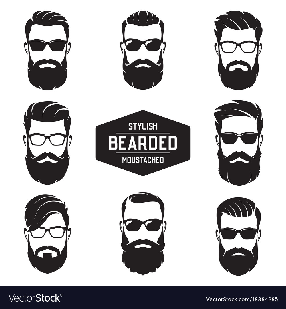 Set of various bearded men faces
