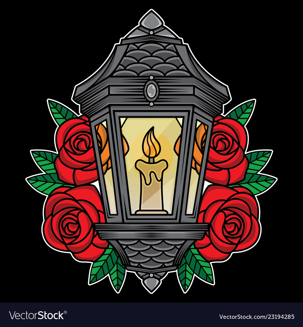 Traditional Lantern Tattoo Royalty Free Vector Image