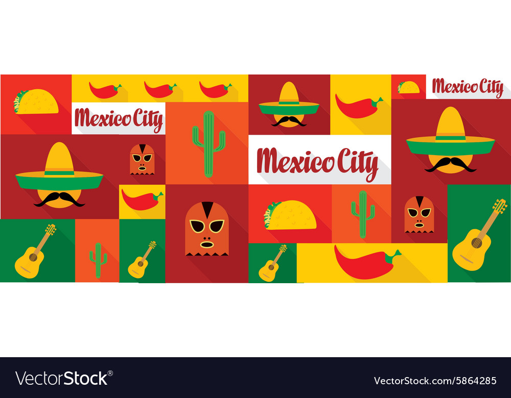 Travel and tourism icons Mexico