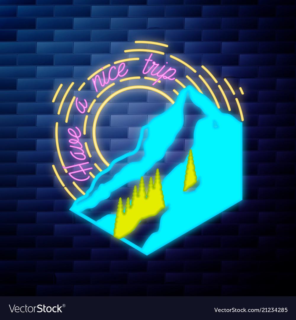 Vintage mounitains emblem glowing neon sign
