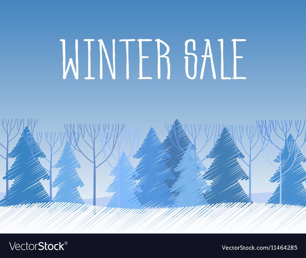 Winter sale words on the beautiful Chrismas flat