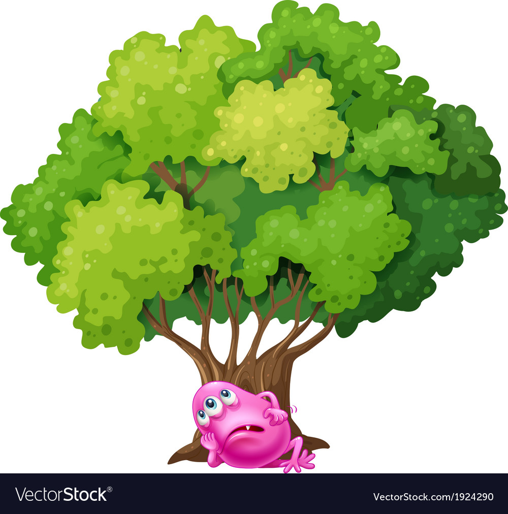 A pink monster resting under the tree