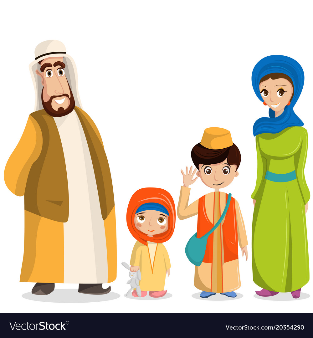Arabic family in national clothes parents