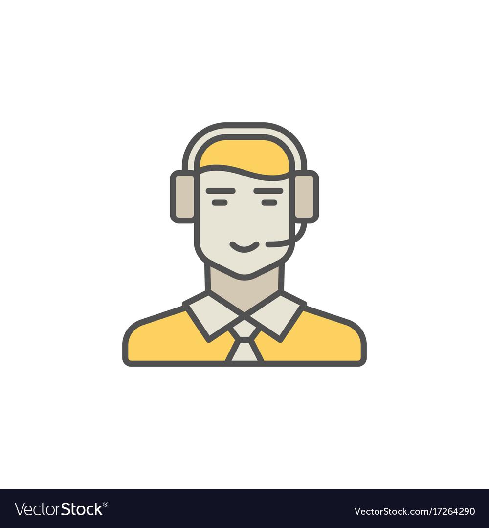 Call center operator colorful icon man in