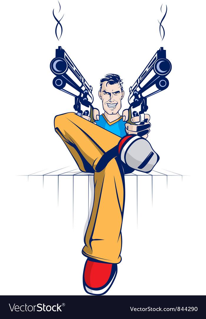 Cartoon Gun Gangsters Royalty Free Vector Image