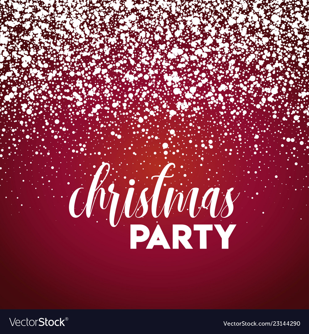 Christmas Party Snow Red Background