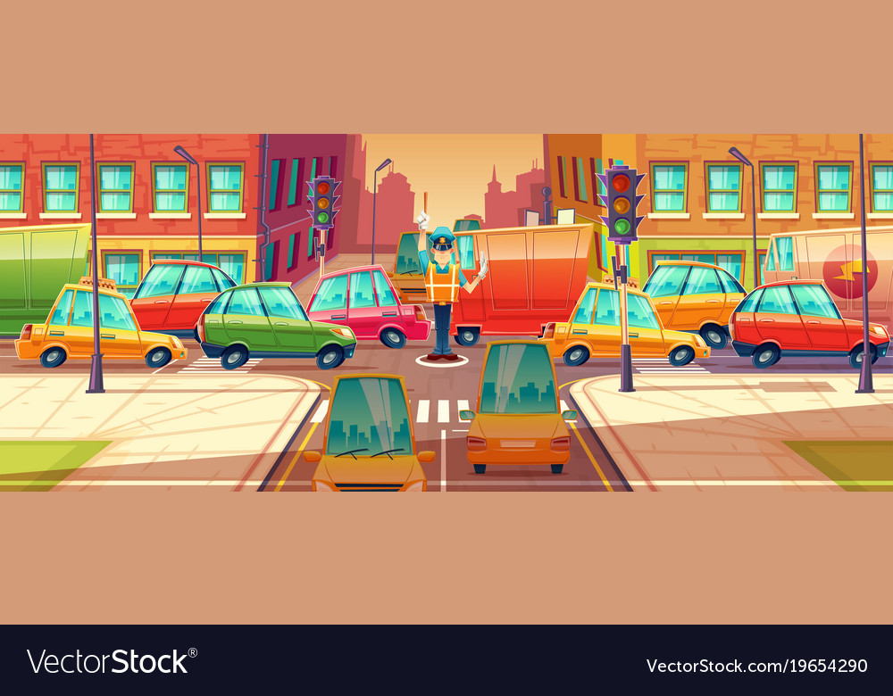 City crossroads rush hour vector image