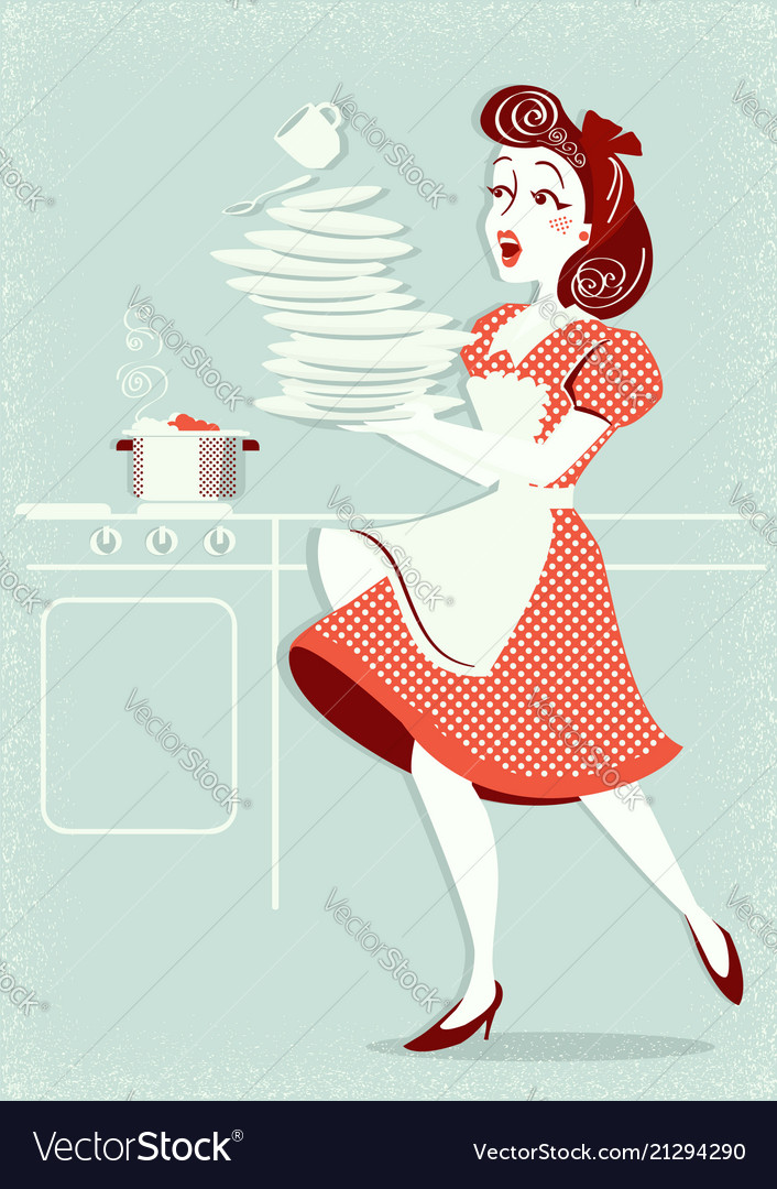 Clumsy attractive woman falling plates and dishes vector