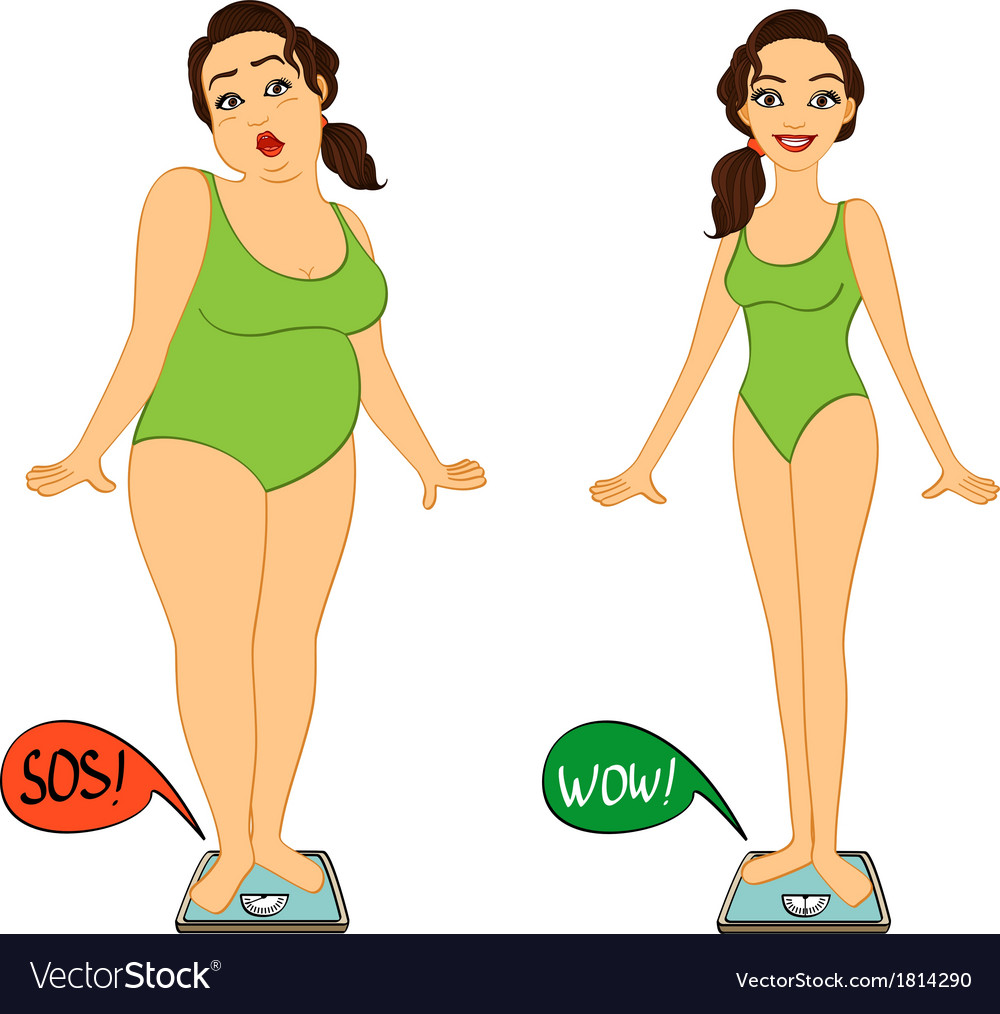 Fat And Slim Woman On Weights Scales Royalty Free Vector