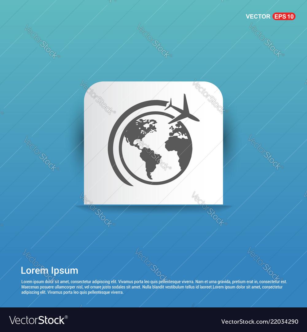 Globe icon with plane - blue sticker button