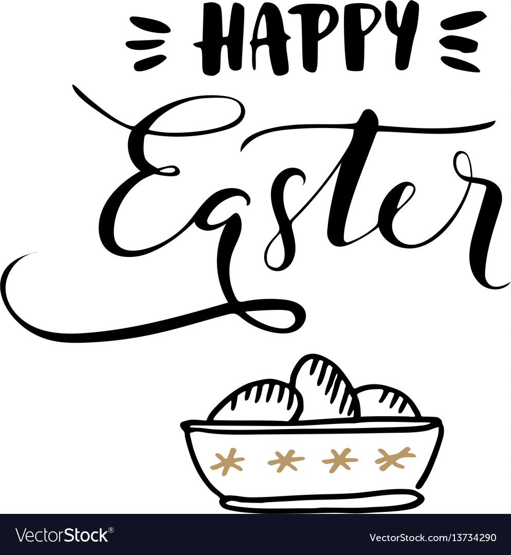 Happy easter calligraphic greeting card