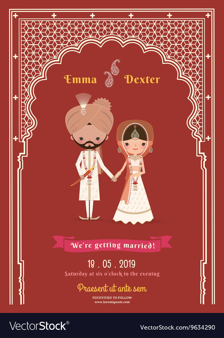 Indian Wedding Bride Groom Cartoon Save The Date Vector Image
