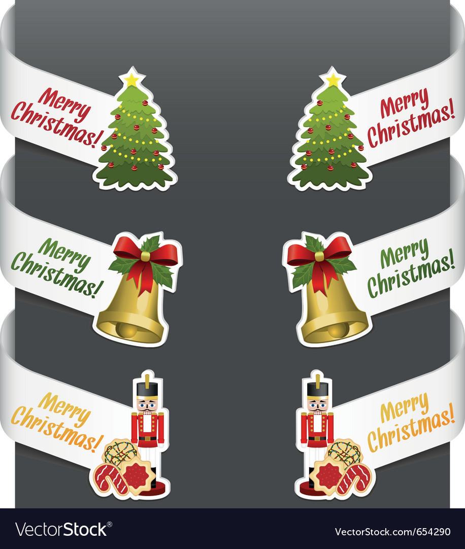 Left And Right Side Signs Merry Christmas Vector Image