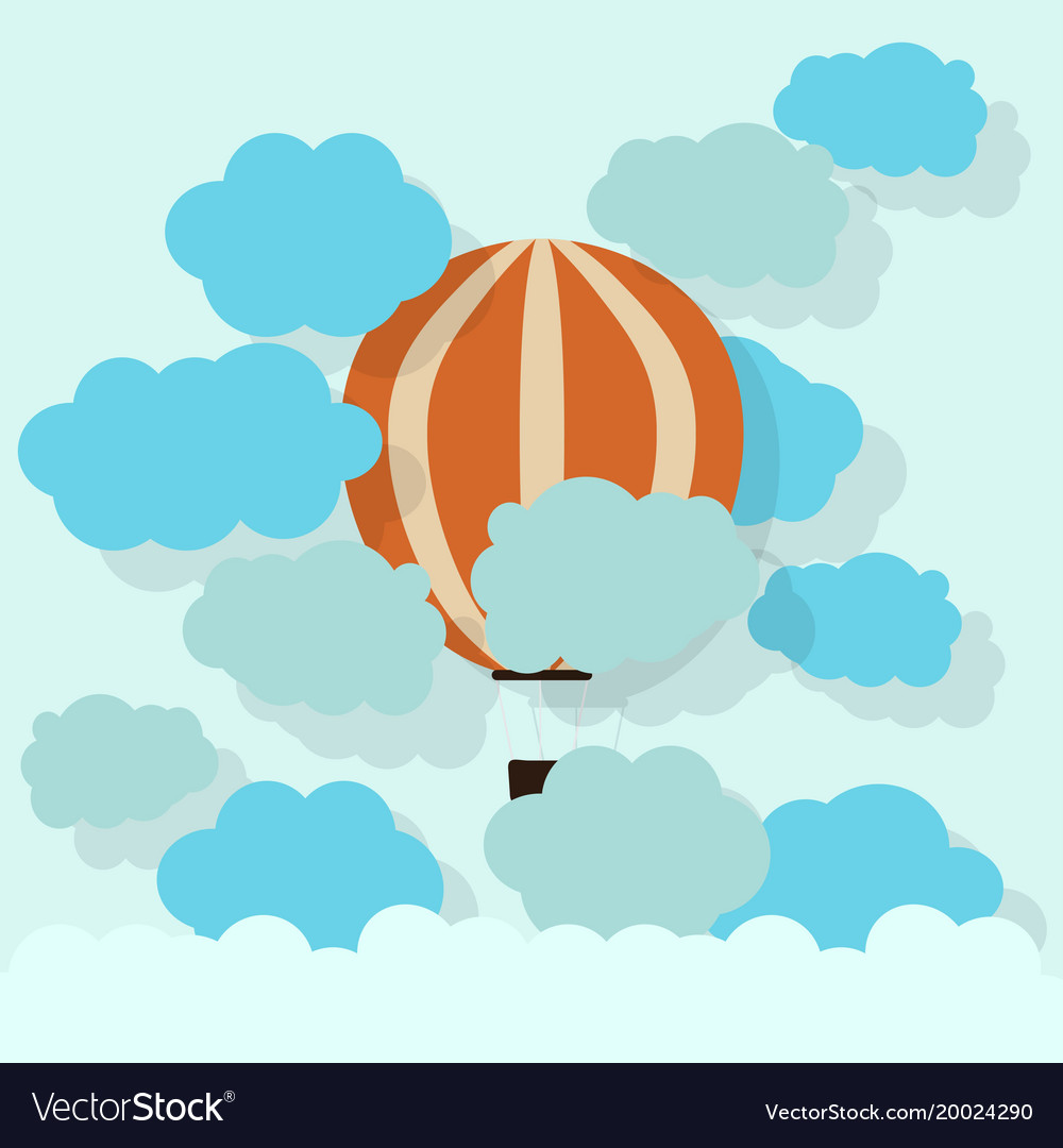 Paper hot air balloon with cloud cardboard texture vector image