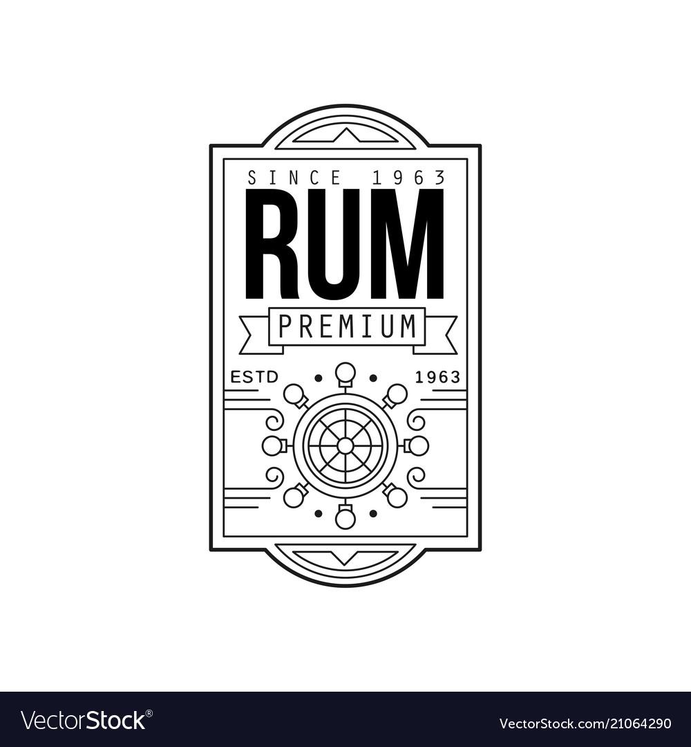 Rum vintage label design alcohol industry