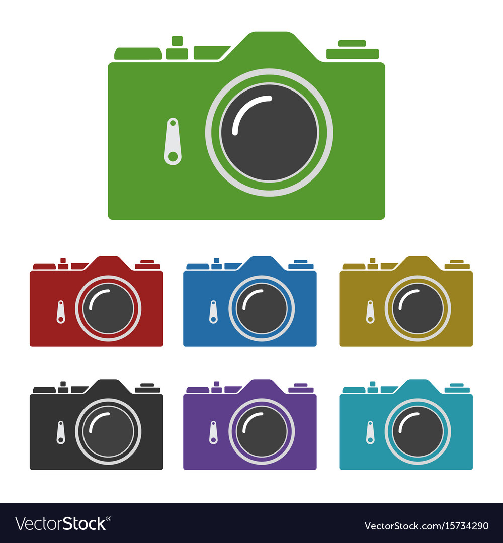 Set of color common slr camera icons signs