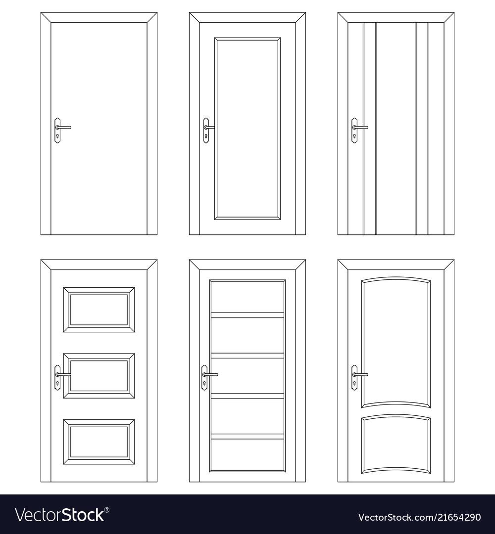 Set Of Interior Doors Outline Design
