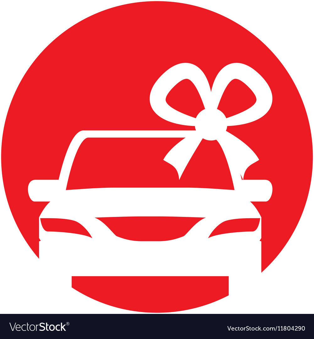 Silhouette Car Gift With Bow Iicon Red Circle Vector Image