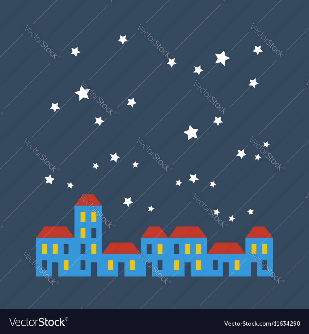 Street of houses under stars vector image