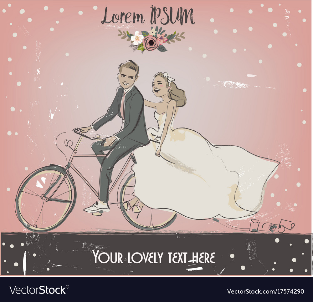 The bride and groom on bike