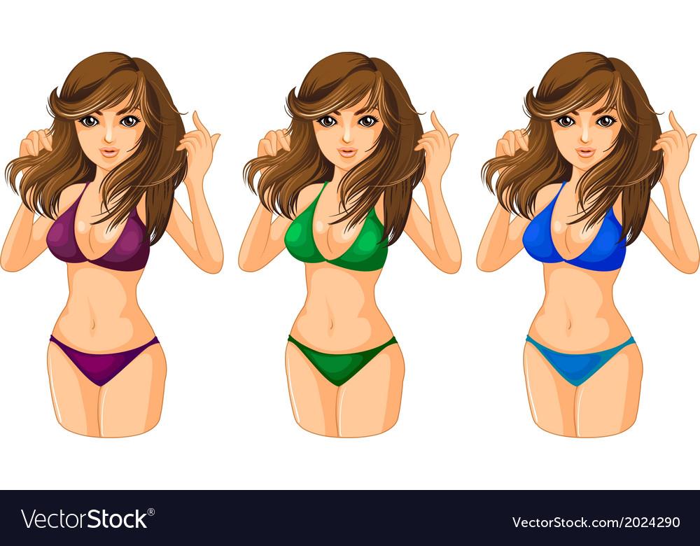 e5037fee7c65d Three ladies wearing a swimwear Royalty Free Vector Image