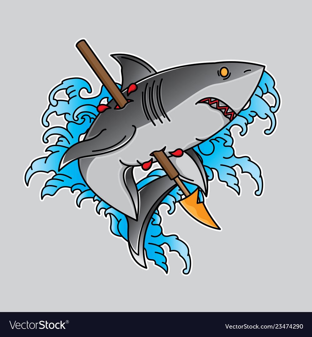 Traditional old school shark tattoo