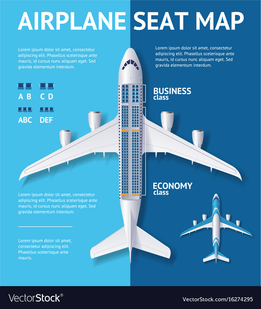 Airplane seat map class card Royalty Free Vector Image
