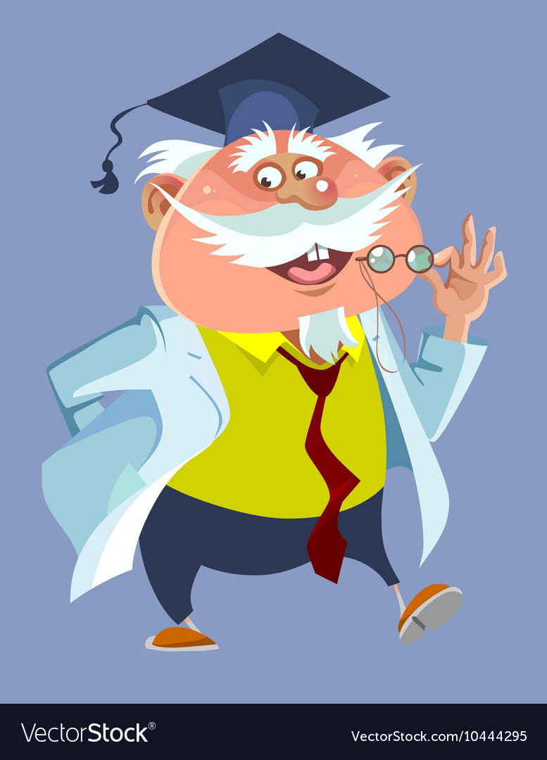 Cartoon chubby male professor in a robe and cap vector image