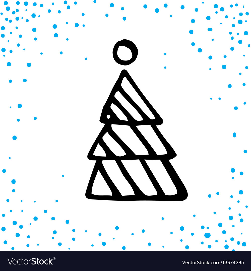 Christmas doodle card for print and web vector image