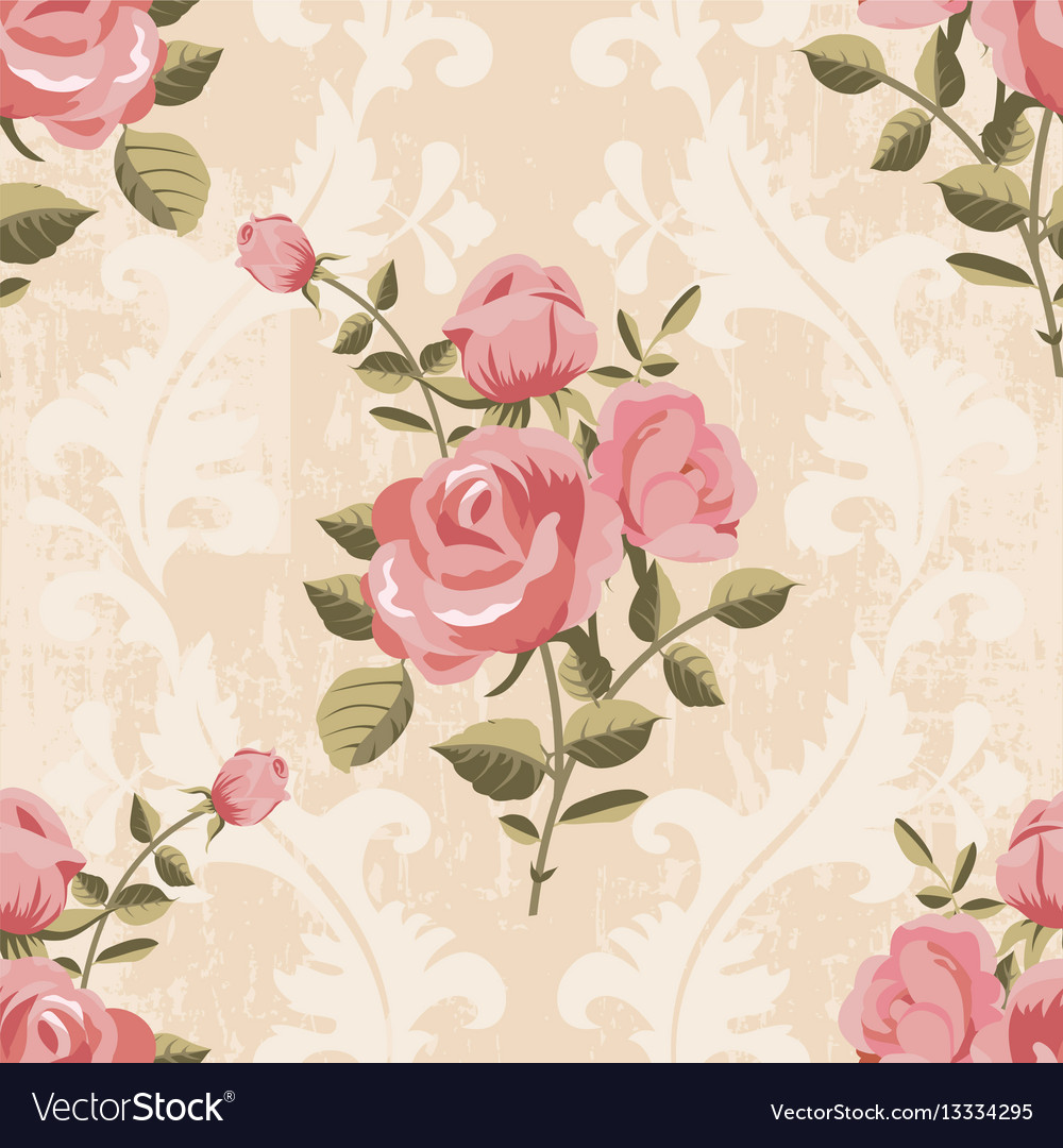 Classic rose pattern seamless wallpaper vector image
