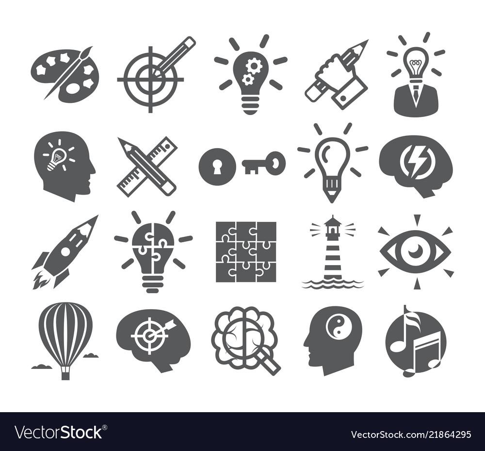 Creativity icons set icons for inspiration idea